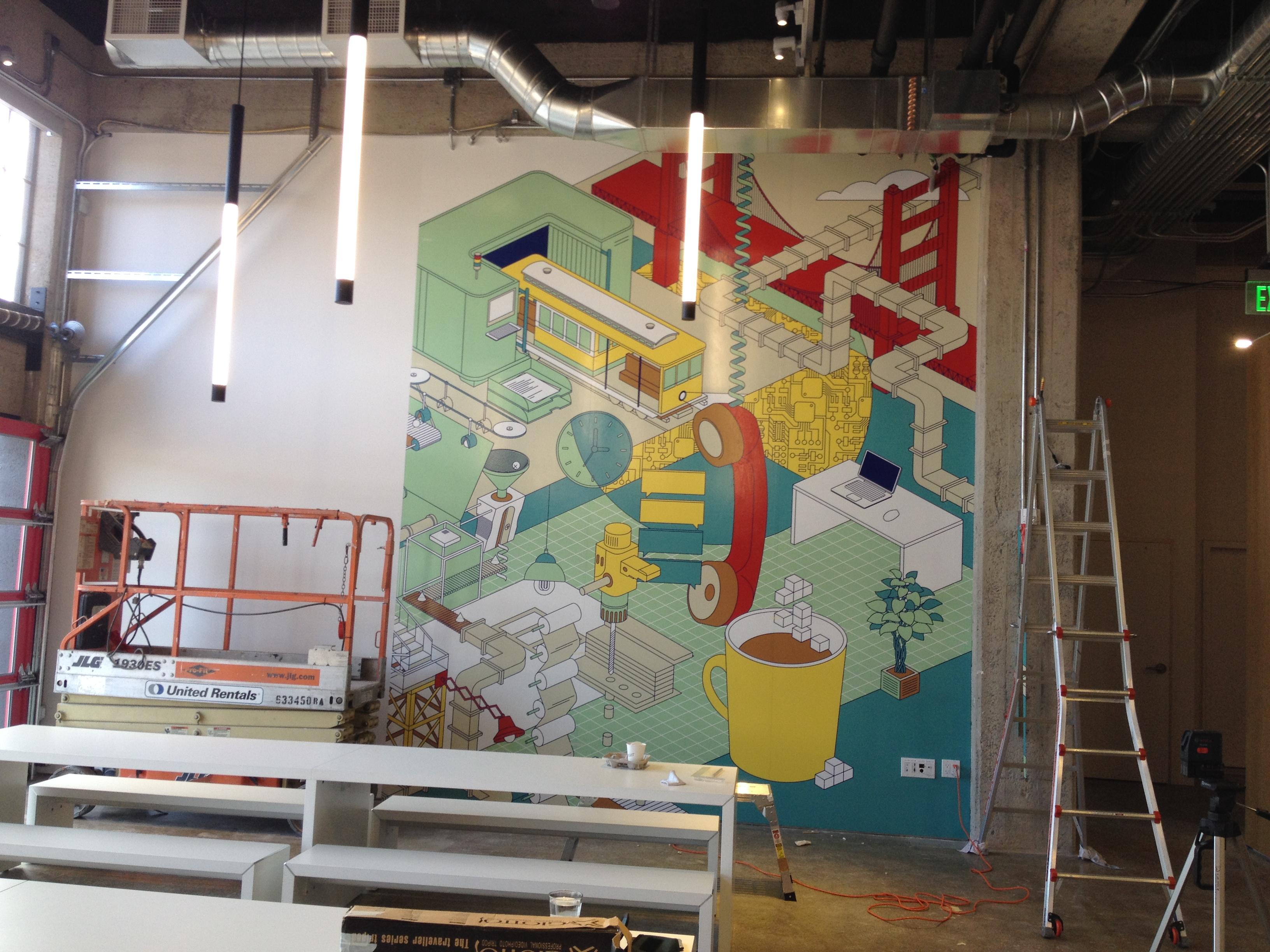 MSC Wall Covering mural in progress