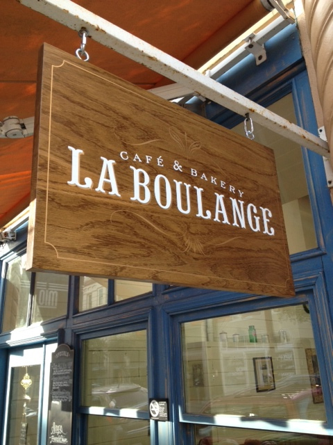 Stained wood screen printed hanging sign San Francisco